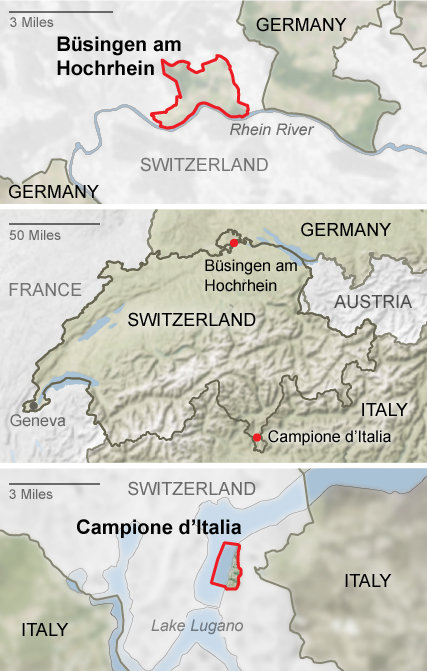 The two international enclaves of Switzerland: Büsingen and Campione (Source: NY Times)
