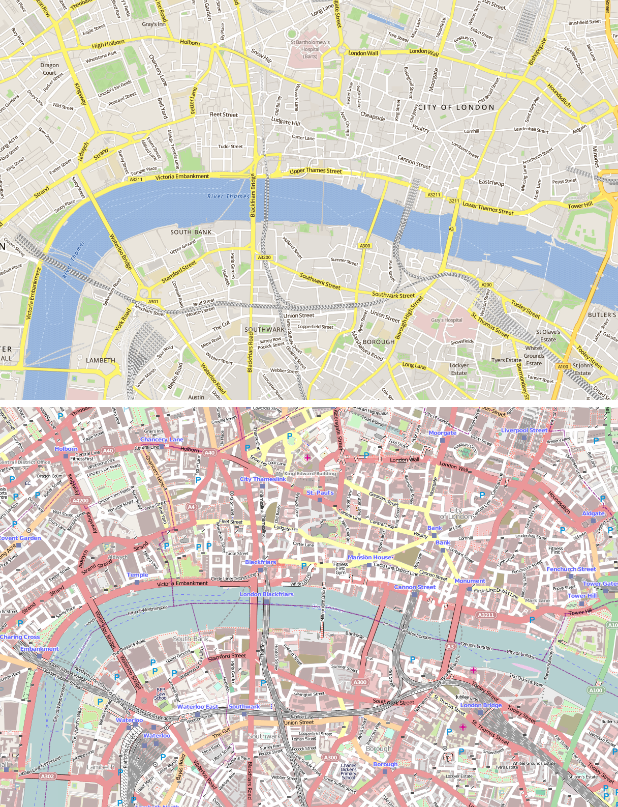 Comparison of Skobbler (top) and Mapnik (bottom) map styles (click to enlarge).