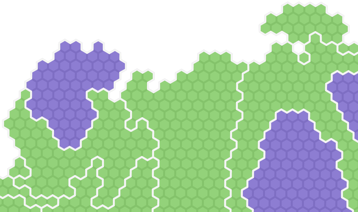 Close-up view of the cartogram's hexagons