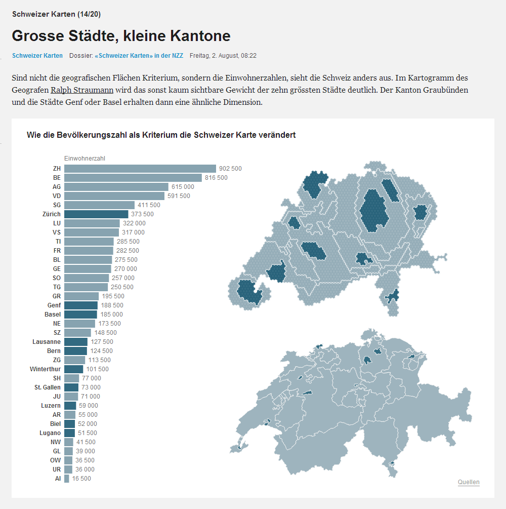 Population cartogram, adapted by NZZ/Interactive Things