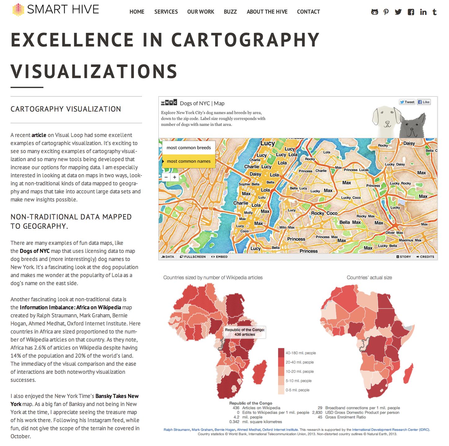 Wikipedia cartogram mentioned by Smart Hive