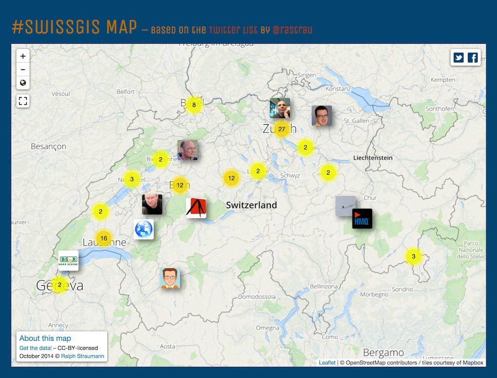 Geocoding Twitter users – The #SwissGIS map
