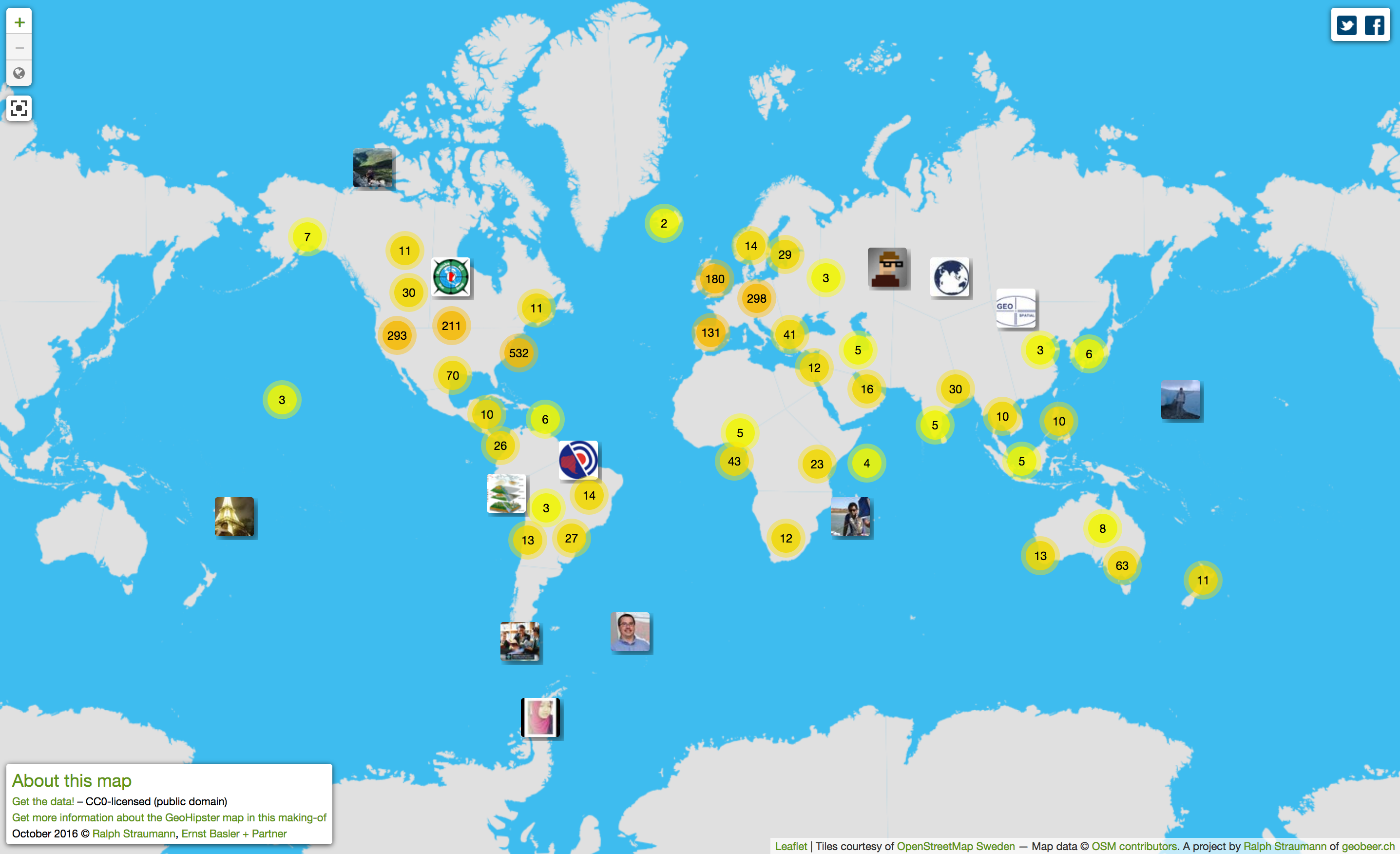 Updated global GeoHipster map